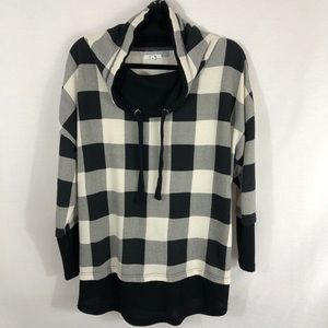 Black and Off White Checkered Pullover
